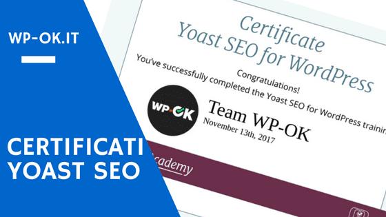 Certificazione Yoast SEO per WordPress